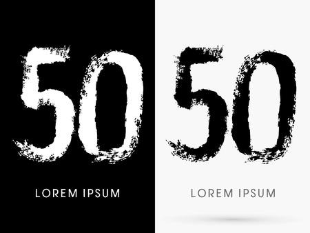 50 number: 50 Number grunge brush freestyle font designed using black and white handwriting line shape logo symbol icon graphic vector.