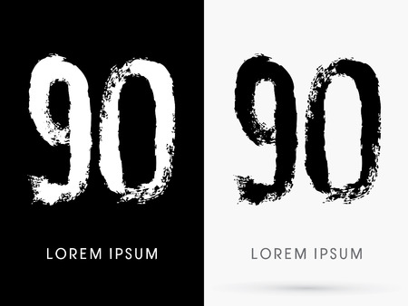 freestyle: 90 Number grunge brush freestyle font designed using black and white handwriting line shape logo symbol icon graphic vector.