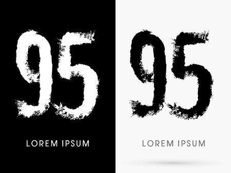 freestyle: 95 Number grunge brush freestyle font designed using black and white handwriting line shape logo symbol icon graphic vector.