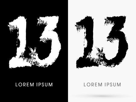 13: 13 Number grunge brush freestyle font designed using black and white handwriting line shape logo symbol icon graphic vector.