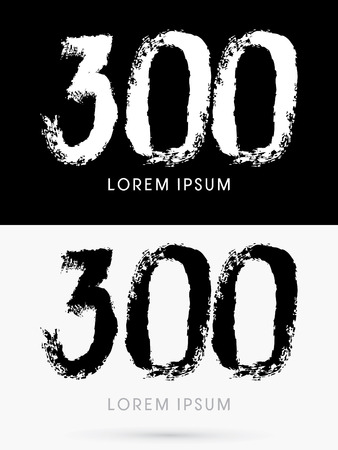 300 Number grunge brush freestyle font designed using black and white handwriting line shape logo symbol icon graphic vector. Vector