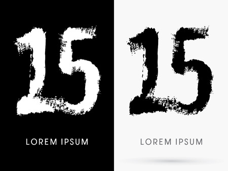 15 Number grunge brush freestyle font designed using black and white handwriting line shape logo symbol icon graphic vector. Vector