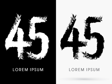 45 Number grunge brush freestyle font designed using black and white handwriting line shape logo symbol icon graphic vector. Vector