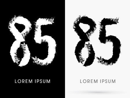 85 Number grunge brush freestyle font designed using black and white handwriting line shape logo symbol icon graphic vector. Vector