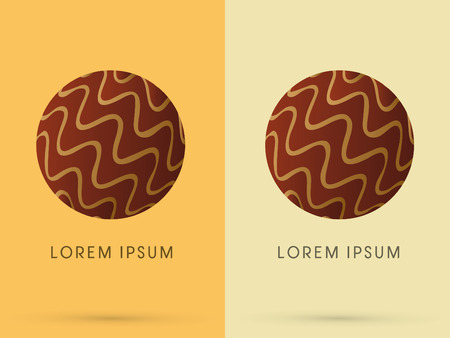 melt: Abstract Chocolate ball melt designed using brown line in circle logo symbol icon graphic vector.