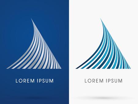 logotipo de construccion: Tiburón aleta Forma abstracta diseñada utilizando azul y negro insignia línea forma geométrica del icono del símbolo gráfico vectorial. Vectores