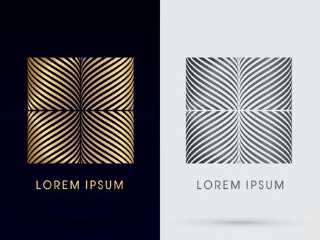 Luxury Abstract  Square Box Abstract  Squaredesigned using gold and silver  line geometric shape logo symbol icon graphic vector. Vector