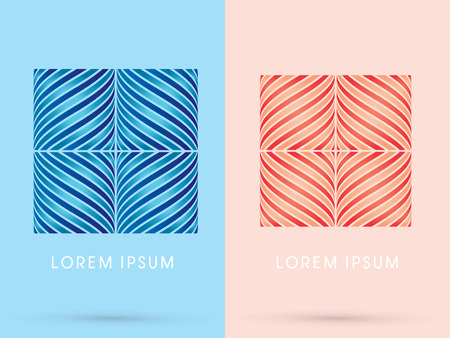 Sweet Luxury Abstract  Square Box designed using blue and pink line geometric shape logo symbol icon graphic vector. Vector
