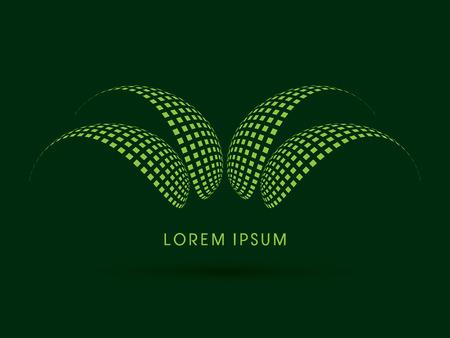 Abstract Aloe Vera designed using green square geometric shape logo symbol icon graphic vector.