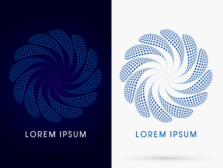 flower petals: Abstract spin fan swirl logo symbol icon graphic vector.