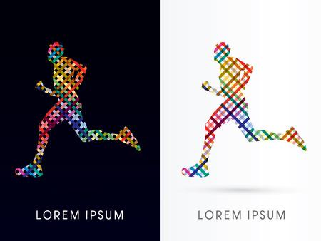 corriendo: Resumen Silueta Hombre corriente diseñado utilizando colorido insignia línea de mimbre del icono del símbolo gráfico vectorial.
