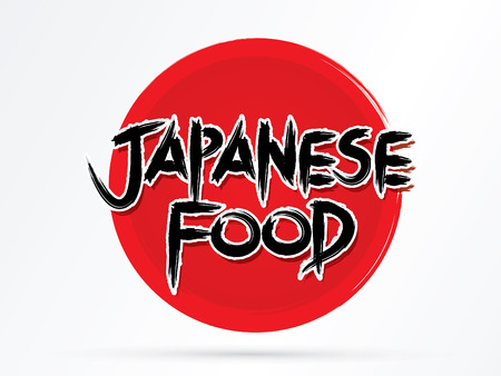 Japanese Food textdesigned using grunge brush on red cycle or Japan flag background graphic vector.