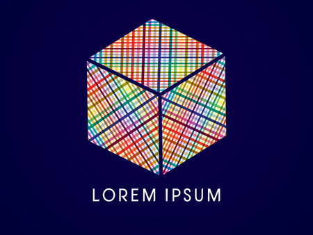 cube box: Colorful Abstract Square Cube Box sign designed using colorful line wicker logo symbol icon graphic vector .