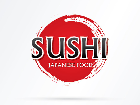 Sushi text vector designed using grunge brush on red cycle background. Illustration