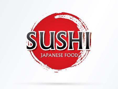 negocios comida: Sushi texto vector diseñado usando cepillo del grunge en el fondo del ciclo rojo. Vectores