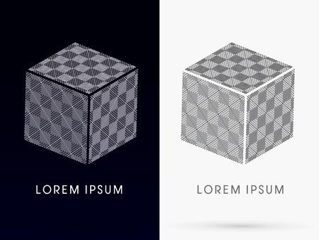 cube box: Checker Abstract Square Cube Box sign designed using black and white line  logo symbol icon graphic vector .