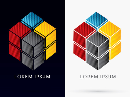 CMYK Color Abstract Square Cube Box sign logo symbol icon graphic vector .