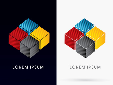 cube box: CMYK Color  Abstract Square Cube Box sign  logo symbol icon graphic vector .