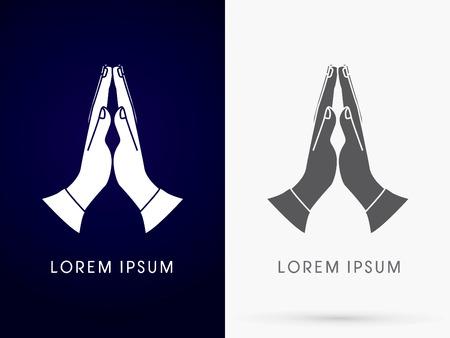 mano de dios: Silueta Oración mano diseñado utilizando blanco y negro signo logotipo del icono del símbolo gráfico vectorial. Vectores