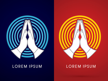 worship hands: Prayer hand on  blue and yellow cycle line background sign logo symbol icon graphic vector.