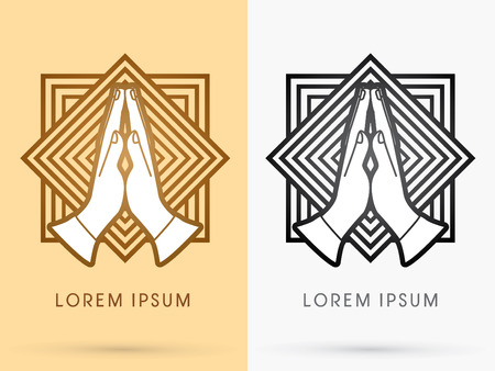 praise hands: Prayer hand designed using gold and black on square line background sign logo symbol icon graphic vector.