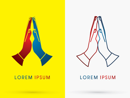 worship hands: Prayer hand designed using  red and blue colors mean stop war peace sign logo symbol icon graphic vector.