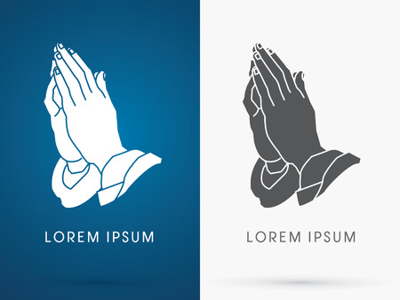 religion: Silhouette Prayer hand designed using black and white colors sign logo symbol icon graphic vector. Illustration
