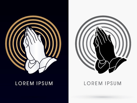 Prayer hand designed using gold and black on cycle line background sign logo symbol icon graphic vector. Stock Illustratie