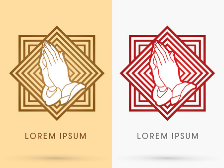 praise and worship: Prayer hand designed using gold and red on square line background sign logo symbol icon graphic vector.