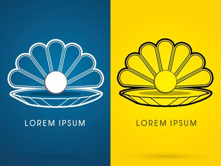 perlas: Esquema de Shell del mar con concha perla signo logo símbolo del icono gráfico vectorial.