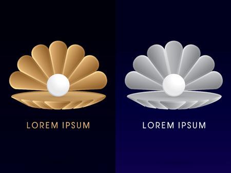 Luxe Sea shell met parel Conch ontwerp met behulp van goud en zilver kleuren teken logo symbool pictogram grafische vector. Stockfoto - 41642053