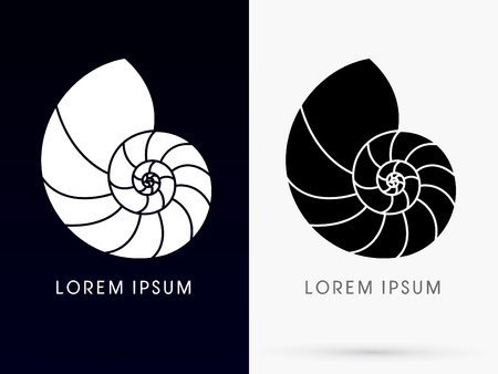 Silhouette Sea shells Conch  designed using colorful line sign logo symbol icon graphic vector. Vectores