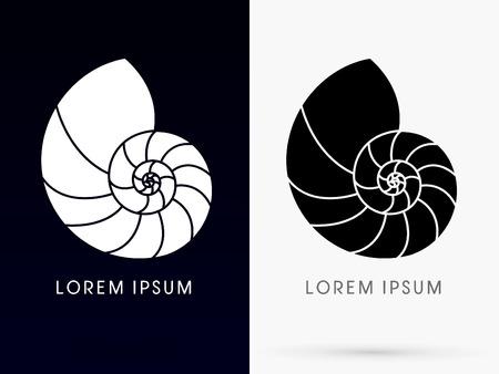 Muszla muszle morskie sylwetka zaprojektowane przy użyciu kolorowy linia znak logo symbol ikona wektor graficzny.