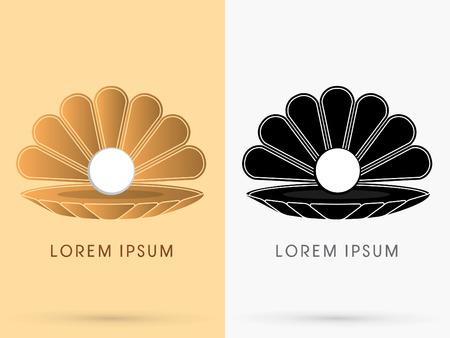 Sea Shell mit Perle Conch Zeichenzeichen Symbol Symbol Vektor-Grafik. Illustration
