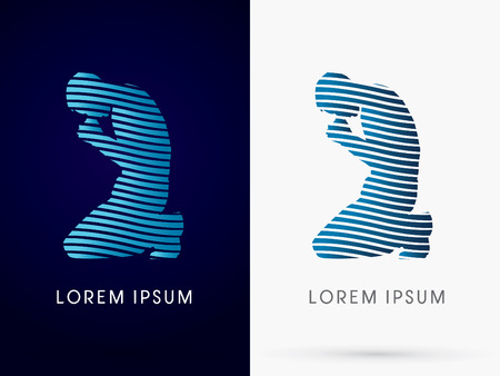 Silhouette of Prayer, Pray sign, designed using blue line wave water , logo, symbol, icon, graphic, vector. Иллюстрация