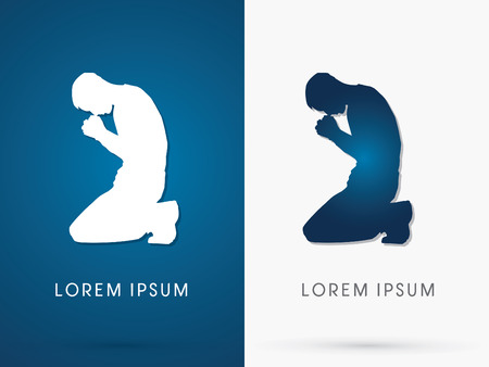 Silhouette of Praye , Pray sign,  shape , logo, symbol, icon, graphic, vector.