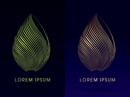 Luksusowy Lotus, Abstrakcyjny, Architektura, Budowa, kształt liścia, zaprojektowany z wykorzystaniem linii zielony i złoty, logo, symbol, ikona, grafika, wektor.