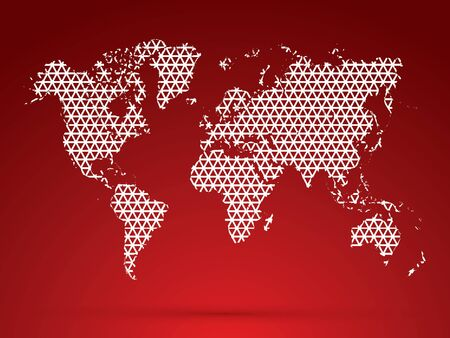 Abstract World map, designed using white triangle shape, graphic, vector