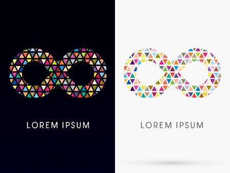infinito simbolo: Infinity colorato, astratto Loop, senza limiti, segno, marchio, simbolo, icona, grafico, vettore.