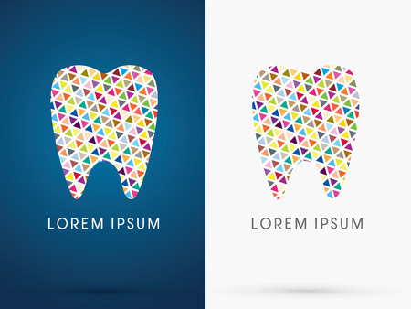 assistants: Colorful Abstract Tooth, Dental Medicine, designed using colorful triangle shape, sign ,logo, symbol, icon, graphic, vector.