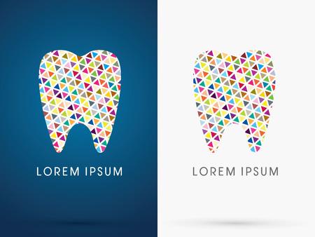 Kleurrijke Abstracte tand, Dental Medicine, ontworpen met behulp van kleurrijke driehoek vorm, teken, embleem, symbool, pictogram, grafisch, vector. Vector Illustratie