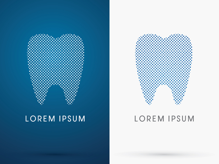 abstract tooth: Abstract Tooth, Dental Medicine, designed using blue and white square dot, sign ,logo, symbol, icon, graphic, vector.