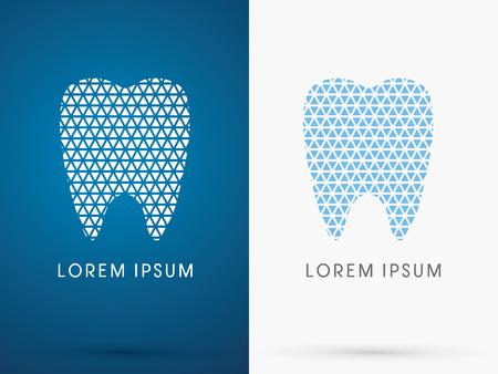 추상 치아, 치과 의학, 흰색과 파란색 삼각형 선, 기호, 로고, 기호, 아이콘, 그래픽, 벡터를 사용 하여 설계.