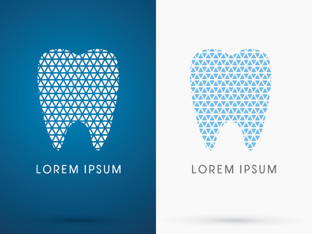 abstract tooth: Abstract Tooth, Dental Medicine, designed using white and blue triangle line, sign ,logo, symbol, icon, graphic, vector. Illustration