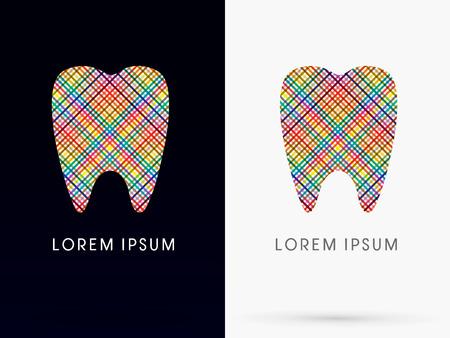 다채로운 추상 치아, 치과 의학, 화려한 라인, 기호, 로고, 기호, 아이콘, 그래픽, 벡터를 사용 하여 설계. 일러스트