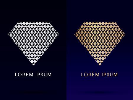 diamond shape: Luxury Diamond abstract, designed using silver and gold  line triangle shape logo, symbol, icon,graphic,vector. Illustration
