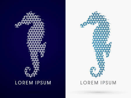 seahorse: Silhouette, Seahorse, Designed using line triangle geometric shape ,sign,  logo, symbol, icon, graphic, vector.