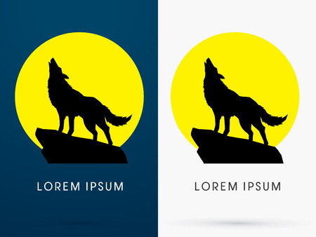 black and white wolf: Silhouette Standing Howling wolf with moon light
