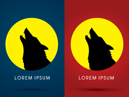 moon light: Silhouette Head howling wolf with moon light