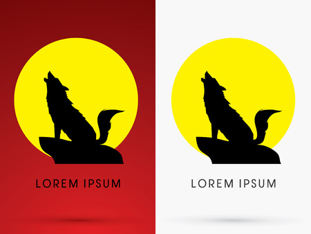 Silhouette Sitting  Howling wolf with moon light, sign ,logo, symbol, icon, graphic, vector. Иллюстрация
